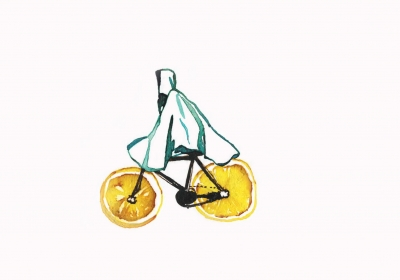 Floating on an orange bike